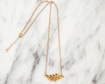 Gold olive branch necklace Branch necklace Necklace olive branch Olive leaf necklace Olive branch charm