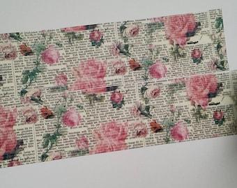 Washi tape roses vintage text