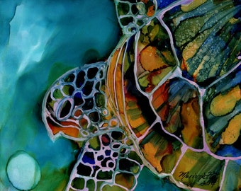 Turtle art print, sea turtle art, green sea turtles, Hawaiian honu, alcohol inks on yupo, alcohol inks, home decor, kids room, ocean art