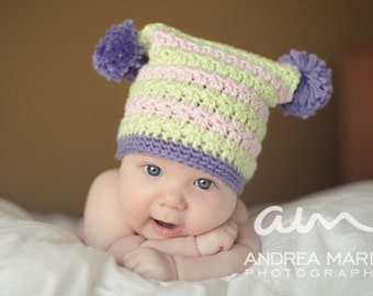 "Crochet Hat Pattern ""Square Star Stitch Hat"" Sizes Baby to Adult, pompom directions"