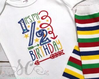 Half Birthday Shirt - Baby Boy Half Birthday Bodysuit - 6 month Birthday - Boy Birthday Shirt - Birthday Photo Prop - Cake Smash
