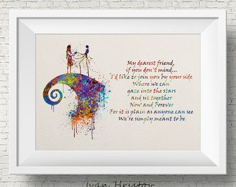 The Nightmare Before Christmas Colorful Quote inspired, Jack and Sally, Quote, Watercolor print,Nursery art, Kids Room Decor, Poster, print