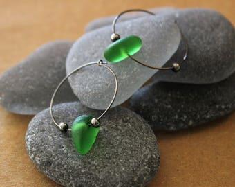 Kelly Green Sea Glass Hoop Earrings with Gunmetal Black Wire
