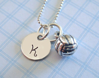 Volleyball Necklace with Hand Stamped Initial Disc // volleyball charm // gifts for her // sports jewelry // volleyball lover
