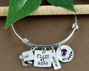 Class of 2016, Gift for High School Graduate, Bangle Bracelet, Graduation Gift, Hand Stamped Bracelet, Personalized Graduation Gift