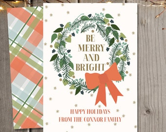 Be Merry Holiday Greeting Cards / Christmas Cards / Holiday Cards / Family Christmas Card / Digital file and printed cards