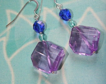 Acrylic, Fire-polished Glass & Sterling Silver Beaded Earrings - Light Cobalt, Aqua And Lavender