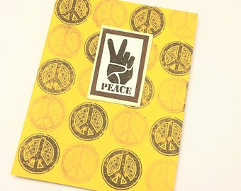 Peace sign peace hand note card in dandelion yellow