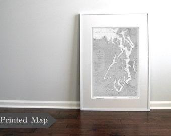 "Puget Sound Washington State Nautical Chart Map Print 1957 Grey 20"" x 30"" ART PRINT, Map Art Prints, Beach Decor, Chart Maps, Seattle Art"