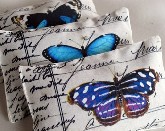 3 organic french lavender mini pillows, blue butterflys collection, set of 3 lavender Fragrant Sachets