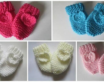 Baby Heart Mittens Knitting Crochet Pattern PDF ONLY