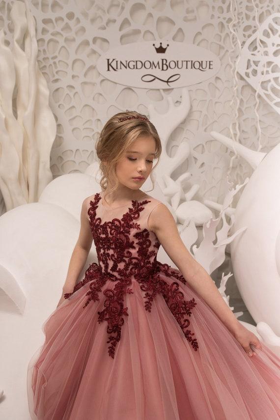 Erröten rosa und Kastanienbraun Blumenmädchen Kleid Geburtstag