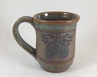 Mug, Ceramic Coffee Mug, Pottery Pinecone Mug, Lodge Look Mug, Handmade Mug, Unique Stoneware Cup, Ready to Ship