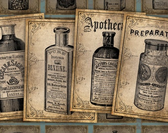 16 Vintage Apothecary Bottles - 2 Printable ATC Cards Digital Collage Sheet - Ideal for Scrapbooking