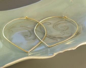 14k gold forged hoop earrings