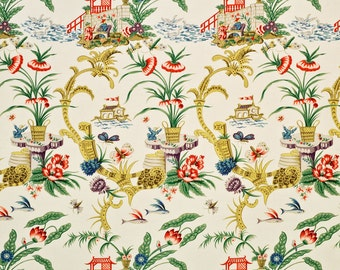 CLARENCE HOUSE PANGONG Chinoiserie Toile Cotton Fabric 10 Yards Multi