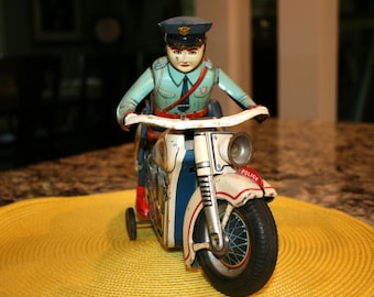 RARE Modern Toys Police Motorcycle//Tin Lithograph Action Toy Battery Operated//Vintage Tin Lithograph Toy