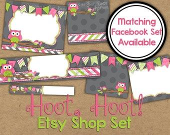 Owl Etsy Banner Set - Etsy Shop Banner - Gray, Pink, Lime Owl Banner - Etsy Shop Banner - Etsy Shop Icon