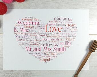 Personalised A4 Heart Word Art Print | Valentine's Day Gift | Anniversary Gift | Heart Print | Wedding Gift | Romantic Gift | Birthday Gift