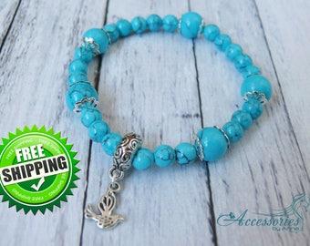 Birds art bracelet Silver bird Turquoise Bracelet Turquoise jewelry Turquoise beads Natural Turquoise Blue Green crystal Balance stone