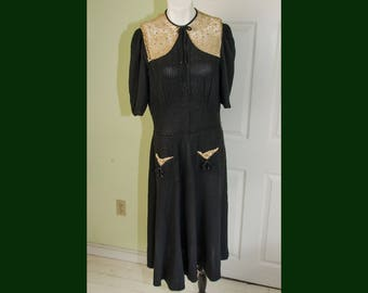 Vintage 1930's Womans Black Crepe Swing Dress with Crochet and Rhinestone