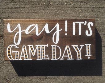 Game Day Hand Painted Sign, Hand Lettered Wood Sign for Home, Custom Team Colors Game Day Sign, Football Sign, Sports Sign, Team Sign
