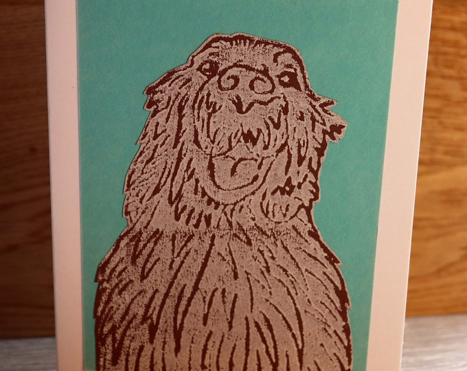 Golden Retriever Greeting Card, Blank inside, Hand printed & paper cut onto green background, love dog, pooch, fur baby, pet, woof, Birthday