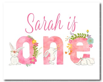 Custom Pink Bunny Birthday Sign, Rabbit Party Decor, Girl 1st Birthday, Printable Birthday Sign. 1516pink