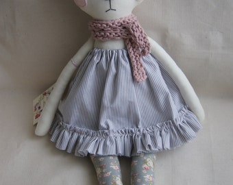 Cat Handmade Doll, stuffed toy, plush cat, stuffed animal, cloth doll, Doll Fabric cat , Linen Dolls,decorative toy, baby gift