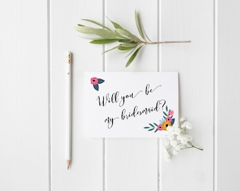 Bridesmaid/maid of honor/matron of honor/will you be my bridesmaid/ flower girl card/bridesmaid ask