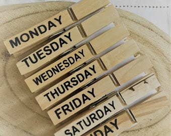 Weekly wooden clothespins