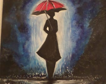 Abstract watercolor raining painting. Umbrella and Rainy Day on canvas 12x8 inches.