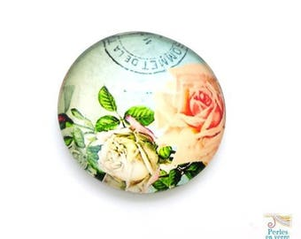2 cabochons 25mm roses postcard, domed glass (cab143)