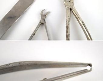 Vintage Medical Tools, Vintage Dentist Tools, Vintage Tongue Depressor, Stainless Steel Tools, Medical Oddities Collection