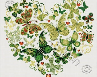 Butterfly heart No2 - modern counted cross stitch kit
