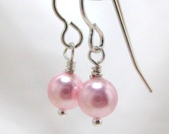 Pink Pearl Earrings, Swarovski Pearl Earrings, Bridal Earrings, Bridesmaids Earrings, Wedding Earrings, Simple Pearl Drop Earrings