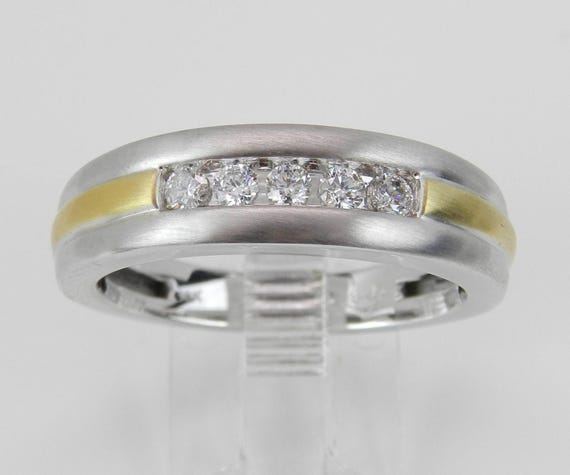 Men's Diamond Wedding Ring Anniversary Band White and Yellow Gold Size 10.25