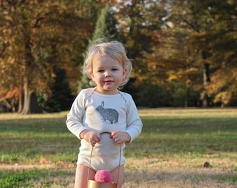 Bunny Rabbit Long sleeve Bodysuit - Organic Cotton Natural Onepiece - hand screen printed - made in America