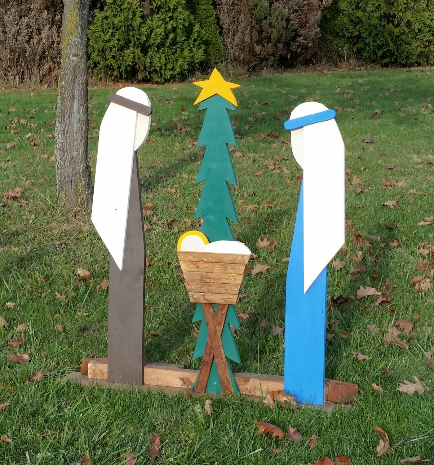 Outdoor Christmas Decorations Nativity Handcrafted Wooden