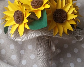 Country Bride Sunflower Paper Bouquet