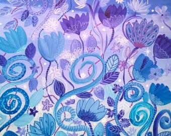 Watercolor flowers: Blue dream