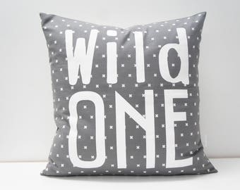 Pillow Cover - WILD ONE Pillow Cover, 20x20, Grey and white small cross print