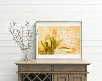 "tulip wall art Mother's Day photo gold Yellow tulip print spring tulip photo art photograph ""God's Gift"""