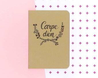 Carpe diem handlettered notebook - seize the day journal