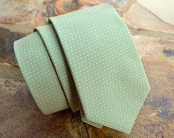 sage green cotton necktie for men,groomsman necktie,sage and ivory dots,neckties for men