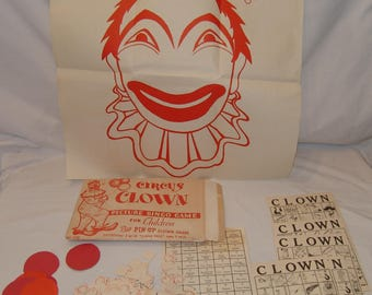 Vtg Circus Clown Picture Bingo Game For Dhildren Birthday Party 1964 Special Co