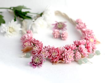"""Necklace  """"Bouquet of chrysanthemums"""""""