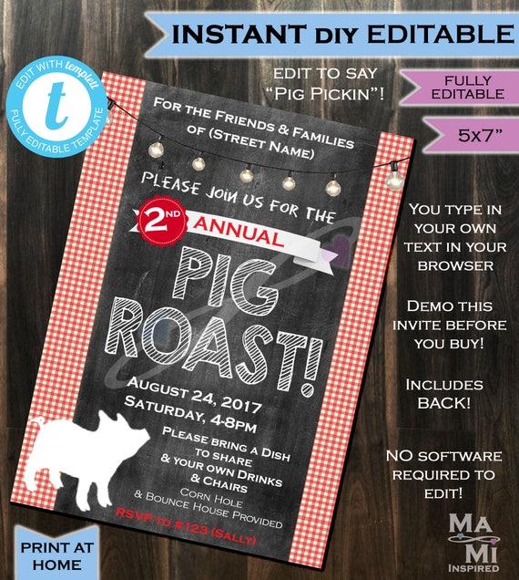 Pig Roast Invitation Pig Pickin Party Bbq I Do Bbq