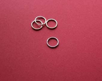 10 rings 10 mm shiny silver open