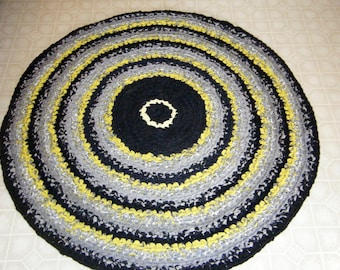 Gray, Yellow and Black Classy Rug\Gray and Yellow Rag Rugs\Gray Crochet Rag Rugs